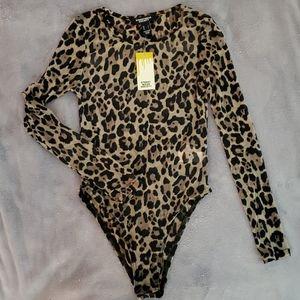 Taupe Mesh Leopard Bodysuit